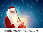 father christmas carrying... | Shutterstock . vector #120268975