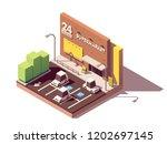 vector isometric supermarket... | Shutterstock .eps vector #1202697145