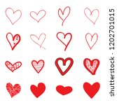 heart hand drawn icons set... | Shutterstock .eps vector #1202701015