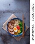 delicious tonkotsu ramen  pork... | Shutterstock . vector #1202708572