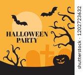 flat halloween night background ... | Shutterstock .eps vector #1202723632