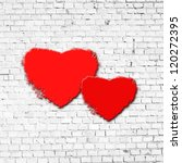 Red Heart On Brick Wall As...