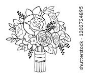 hand drawn wedding bouquet.... | Shutterstock .eps vector #1202724895