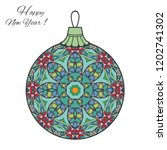 colorful christmas ball with... | Shutterstock .eps vector #1202741302