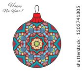 colorful christmas ball with... | Shutterstock .eps vector #1202741305