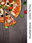 delicious italian pizza served... | Shutterstock . vector #120276742