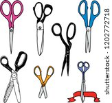 set of different sewing scissors | Shutterstock .eps vector #1202772718