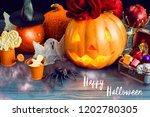 happy halloween pumpkin head in ... | Shutterstock . vector #1202780305