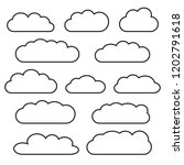 cloud icon set  black outlined... | Shutterstock .eps vector #1202791618