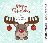 cute reindeer christmas hoilday ... | Shutterstock .eps vector #1202796715