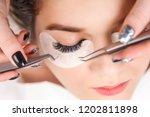 eyelash extension procedure.... | Shutterstock . vector #1202811898