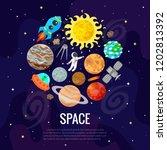 vector illustration of space ... | Shutterstock .eps vector #1202813392