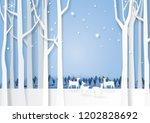 winter season forest silhouette ...   Shutterstock .eps vector #1202828692