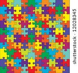 puzzle with split complementary ... | Shutterstock .eps vector #12028345