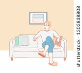 a man is resting comfortably on ... | Shutterstock .eps vector #1202838808
