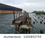 ruins of a once busy ore dock...   Shutterstock . vector #1202852755