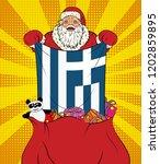 santa claus gets national flag... | Shutterstock .eps vector #1202859895