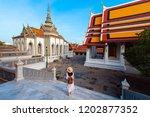 woman tourist is enjoy... | Shutterstock . vector #1202877352