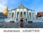 woman tourist is enjoy... | Shutterstock . vector #1202877355