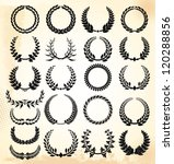 Laurel wreath - set - stock vector