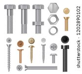 steel screws bolts. vise rivets ... | Shutterstock .eps vector #1202890102