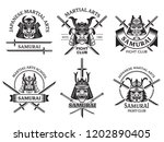 martial asian labels. samurai...   Shutterstock .eps vector #1202890405