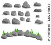set of gray stones.... | Shutterstock .eps vector #1202898658