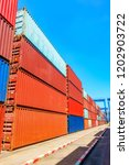 stack of containers box  cargo...   Shutterstock . vector #1202903722