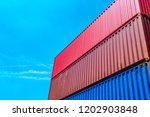 stack of containers box  cargo...   Shutterstock . vector #1202903848