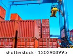stack of containers box  cargo...   Shutterstock . vector #1202903995