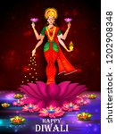 indian goddess lakshmi on lotus ... | Shutterstock .eps vector #1202908348