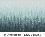 winter forest. falling snow in... | Shutterstock .eps vector #1202915368