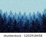 winter night forest. falling... | Shutterstock .eps vector #1202918458