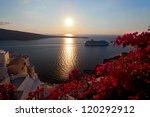 Greece  Sunset Santorini Island....