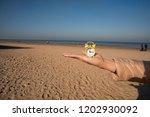 vintage black alarm clock on... | Shutterstock . vector #1202930092