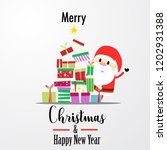 santa claus with a lot of gift...   Shutterstock .eps vector #1202931388