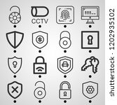 simple set of  16 outline icons ... | Shutterstock .eps vector #1202935102