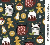 christmas seamless pattern with ... | Shutterstock .eps vector #1202941822