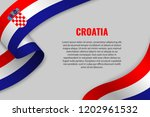 waving ribbon or banner with... | Shutterstock .eps vector #1202961532
