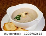 mushroom cream soup with...   Shutterstock . vector #1202962618