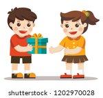 a little boy giving girl...   Shutterstock .eps vector #1202970028