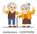 grandpa and grandma standing... | Shutterstock .eps vector #1202970058