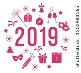 new year symbols. gifts ... | Shutterstock .eps vector #1202983165