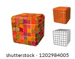 abstract polygonal cube with... | Shutterstock .eps vector #1202984005