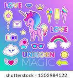 stickers set with unicorn  love ... | Shutterstock .eps vector #1202984122