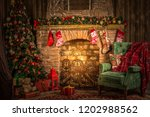 traditional christmas room ... | Shutterstock . vector #1202988562