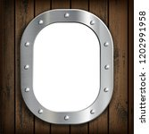 window ship porthole with white ... | Shutterstock .eps vector #1202991958