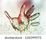 frozen hand print at a window - stock photo