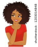 thinking african american woman ... | Shutterstock .eps vector #1203014848
