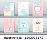 set of cute animals poster... | Shutterstock .eps vector #1203018172